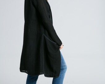 Oversize Cardigan / Long Cardigan / Open Cardigan / Long Sweater Blazer / Wool Cardigan / Black Cardigan / Marcellamoda - MB0785