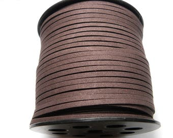 1x 3m Flat Faux Suede Cord 3mm - Chocolate Brown