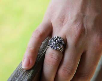 Sterling Silver Wide Band Vine Ring with Spiral - Spiral Ring - Wide Ring - Vine Jewelry - Etruscan Ring - Statement Ring - Sherry Tinsman