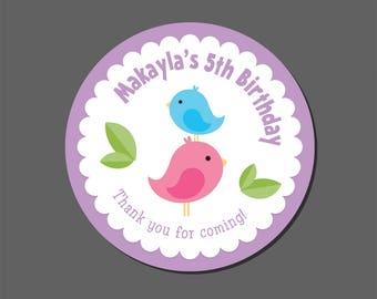 Bird Favor Stickers - Birthday - Baby Shower - Personalized Favor Stickers, Birdies, Birdhouse, Bird Party, Bird Shower, Round Stickers