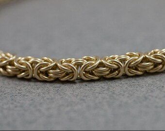 Delicate Golden Chain Bracelet - Thin 14k Gold Filled 20g Byzantine Handmade Chain maille Bracelet or Anklet