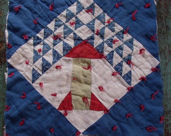 vintage QUILT block...PINE TREE...blue, red, Tied, hand sewn, graphic, classic pattern, shabby chic