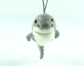 Needle Felted Christmas Ornament - Great White Shark - Needlefelt Shark - Felt Fish - Christmas Gift - Gift for Him - Holiday Decoration