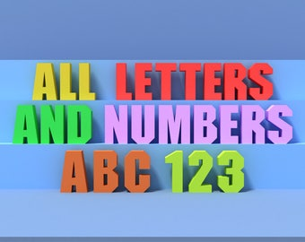 All Letters and Numbers, A-Z, 0-9. Big Letter Decor, 3D DIY Living Room Decoration Template. Free Standing Letter for Creating Signs & Names