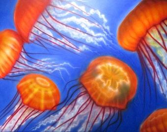 Large Airbrush Jellyfish Painting