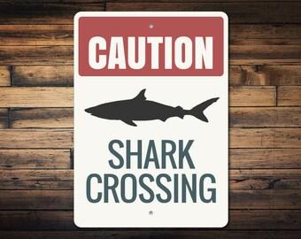 Shark Caution Sign, Shark Sign, Shark Decor, Shark Lover Gift, Caution Shark Sign, Shark Beach Sign, Shark Gift, Quality Metal ENS1002940