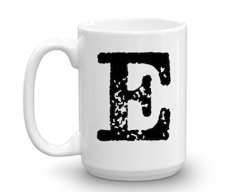Initial Mug - Letter E - 15oz Ceramic Cup - Co-Worker Gift Mug - Right-Handed or Left-Handed Mug