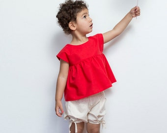 Red Summer Top, Pocket Top, Girls Cotton Top, Red Twirl Top, Girls Christmas Outfit, Party Top, Red Girls Top , Vintage Style, Retro, MayaMe