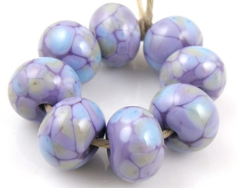 Purple Haze SRA Lampwork Handmade Artisan Glass Donut/Round Beads Made to Order Set of 8 8x12mm