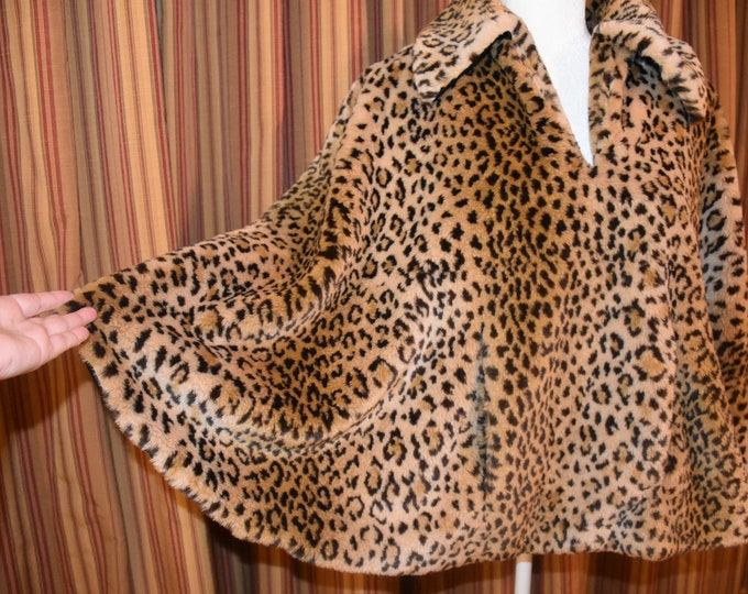 Featured listing image: Vintage CACHE Faux Leopard Fur pullover swing jacket cape with front side pockets - Size Medium - Excellent condition