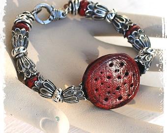 Red medallion bracelet for small wrist, Steampunk bracelet, Rustic bohemian bracelet, Chunky bracelet, Boho chic art bead bracelet,
