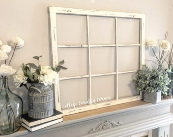 "Window Frame 32"" x 28"" - Window Frame Wall Decor - Farmhouse Decor - 9 Pane Faux Window Frame - Window - Rustic Window - Antique Window"