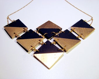 LUXE Collection - Statement Bib Metallic Gold and Black Wood Geometric Necklace