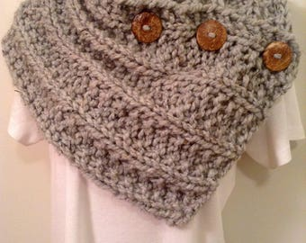 Gray Heather Chunky Knit Neck Warmer or Cowl