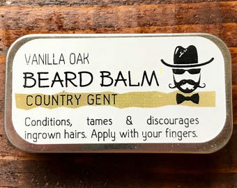 Country Gent Handmade Beard Balm Conditioner Tamer 1/4 oz Slide Tin Vanilla Oak
