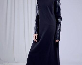 Long deconstructed black tunic/Black Tunic/Gothic Clothing/Steampunk Clothing/Minimalist Dress/Avant Garde Clothing/Turtleneck black Tunic