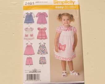 Simplicity 2461 - Toddler Girl's Summer Separates - Size 1/2-1-2-3-4 - Dress, Pinafore, Shorts, Bloomers - Uncut, Factory Folds - MSRP 13.95