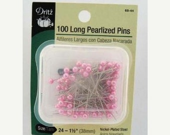 20 % off thru 5/31 DRITZ -100 long PEARLIZED straight PINS pink pearl heads 1.5 inches long