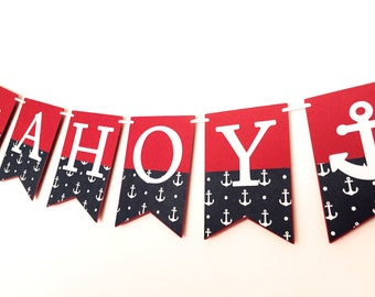 AHOY Nautical Banner - Red and Navy Blue. Baby shower, First birthday party, bunting, garland. Photo prop. Ahoy its a boy. Ah