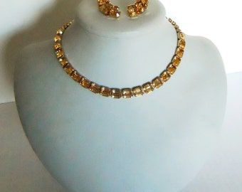 Weiss choker a clip earring set a amber gold crystal color Vintage rhinestone necklace set  stunning design signed costume jewelry cocktail
