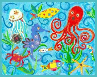 Sea creatures on fabric