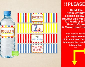 Circus Water Bottle Labels - Carnival Water Bottle Wraps - Carnival Bottle Labels - Emailed & Shipped Available