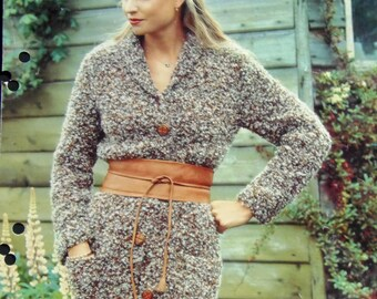 Original Vintage Knitting Pattern Women's Chunky Coat (006)