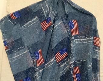 Beach Wrap Swimwear Beach coverup beachwear cruisewear One Size American Flag See Thru Sheer Vintage Woman's