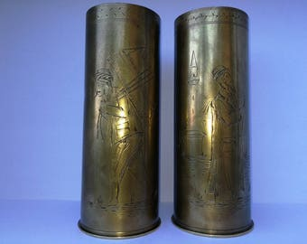 Vintage rare old 85 mm 75 DEC brass shell casings (1916)
