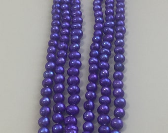 "60"" 6-8mm Purple Freshwater Pearl Strand Necklace Cultured"