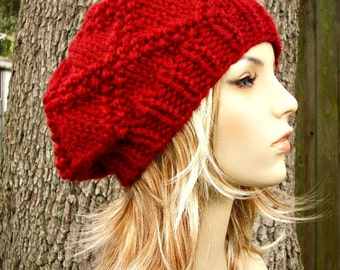 Knit Hat Womens Hat - Diamond Beret in Cranberry Red Knit Hat - Red Hat Red Beret Red Beanie Womens Accessories