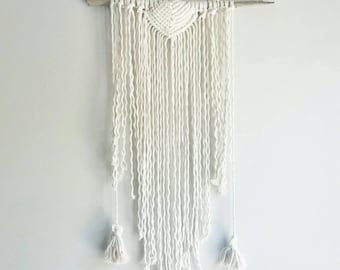 Shabby Chic Wall Hanging- Wall Accent- Bohemian Decor- Dorm Decor~ Planter~ Modern Macrame- White Wall Accent- Boho Home Decor-  BohoChic