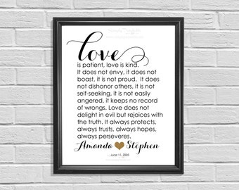 Printable Personalized Wedding Anniversary or Valentine Gift,  Love is Patient, Love is Kind