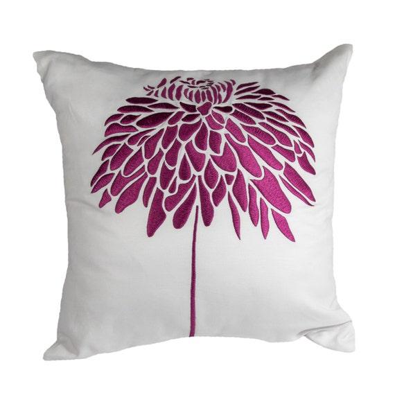 purple peony throw pillow cover white linen deep purple