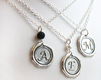 fathers Day Gift Silver Initial Disc Necklace boyfriend gift Personalized Disk Pendant Sterling silver chain Custom Name wax seal Letter