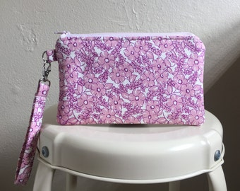Pink Flower Wristlet, Pink Wristlet Purse, Pink Wristlet Clutch, Pink Clutch, Pink Flowers, iPhone Wristlet Wallet, iPhone 6 Plus, Clutch