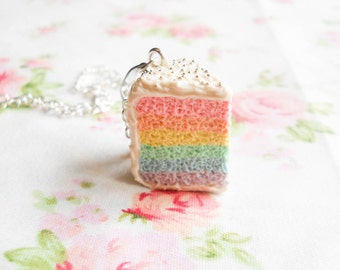 Pastel Rainbow Cake Necklace, Rainbow Cake, Cake, Food Necklace, Sweet Lolita, Polymer Clay, Pendant, Charm Necklace, Kawaii, Pastel