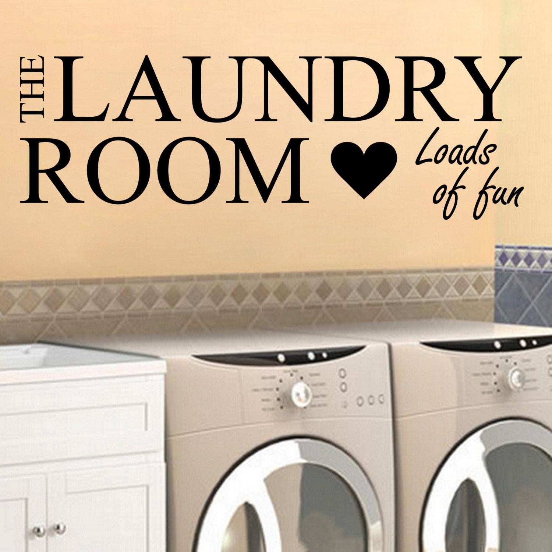Laundry Decal Room Loads of Fun w Heart Wall Vinyl Sticker