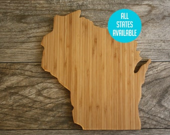 Wisconsin Shaped State Cutting Board, State Cutting Board, State Shaped Gift, State Shaped