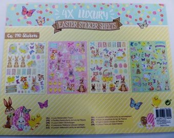 190 stickers Easter Bunny chick eggs Lamb 4 holographic glitter Board bulging inflated puffy sticker decal