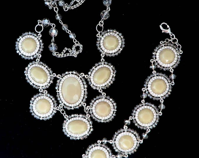 Necklace, Bracelet, Cream Bead Jewelry, Vintage Jewelry Set, Glass Necklace, Bib Necklace, Rhinestone Bracelet, Glass Jewelry Set