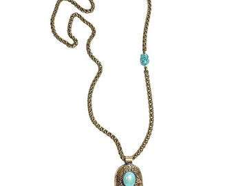 30% OFF Khamsa (Turquoise) necklace - a large hamsa pendant with hand-carved detail and commanding turquoise stone
