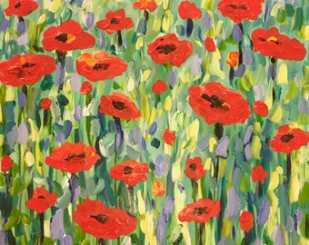 Flowers red poppies original abstract painting
