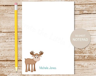 personalized moose notepad . whimsical moose note pad . personalized stationery . woodland moose stationary