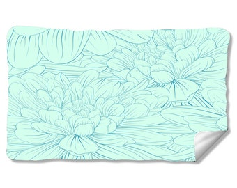 Blue Dahlia Velveteen Fleece Blanket