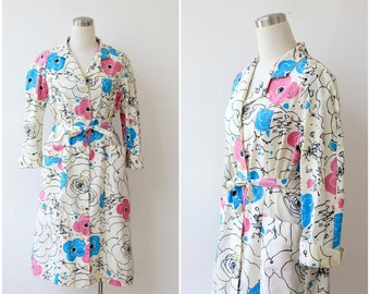 1980's does 1940's White Linen Shirt Dress Button Front Long sleeve Floral Dress Large