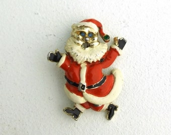 vintage santa enamel pin jewelry gift for her gift for women gift for him. pin. santa claus. red. brooch. dangle. christmas.