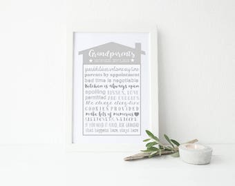A4 Grandparents House Rules home decor  print