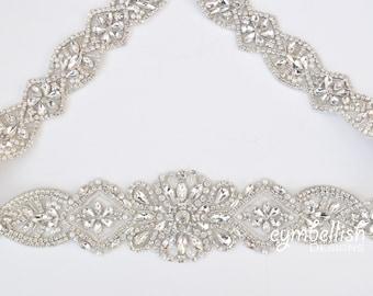 Crystal Rhinestone Bridal Belt with Clasp - Wide Bridal Sash - Full Length Rhinestone Belt Pearl- Silver Wedding Accessories- B104