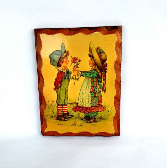Vintage 1970's Cutesy Holly Hobbie Wooden Wall Plaque with Art by Amy